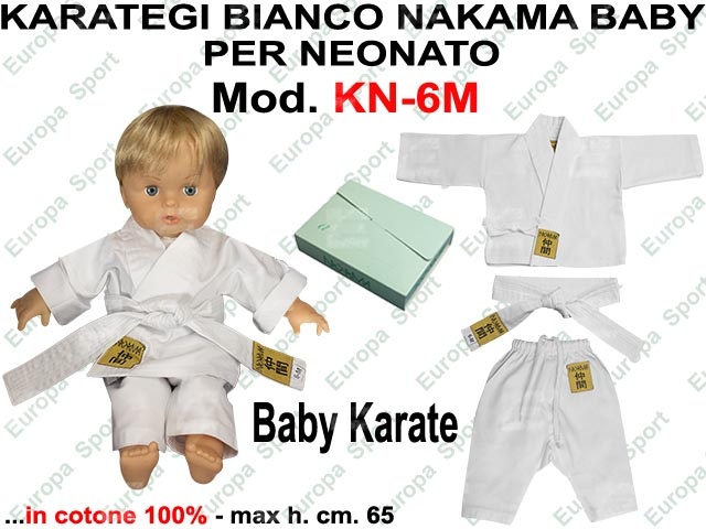 KARATE BIANCO NAKAMA BABY PER NEONATO MOD. KN-6M BABY  CM. 65 MIS. 6 MESI