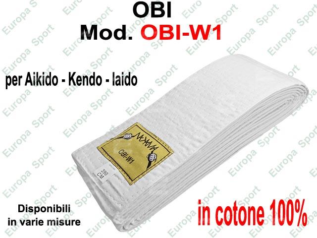 OBI CINTURA PER AIKIDO - KENDO - IAIDO  COL. BIANCA  MOD. OBI-W1