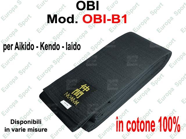 OBI CINTURA PER AIKIDO - KENDO - IAIDO  COL. NERA  MOD. OBI-B1