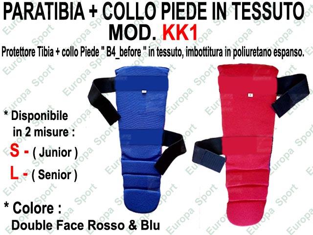 PARATIBIA + COLLO PIEDE IN TESSUTO DOUBLE FACE MOD. KK1