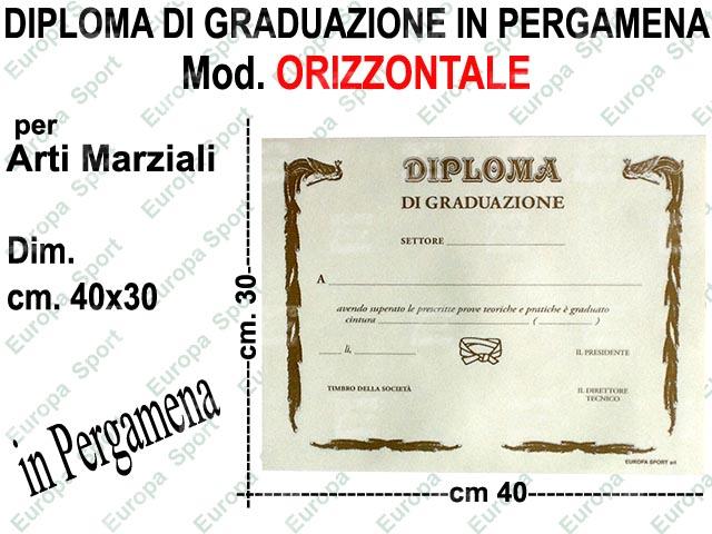 DIPLOMA DI GRADUAZIONE IN PERGAMENA PER ARTI MARZIALI  MOD. ORIZZONTALE CM. 40x30