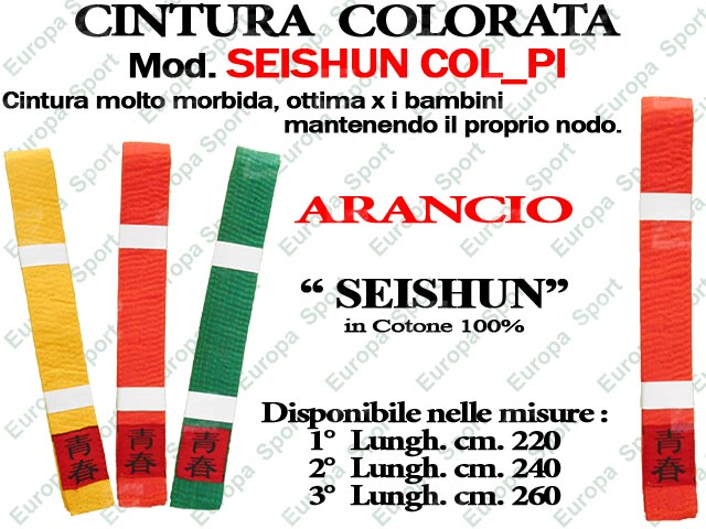 CINTURA ARANCIO PER ARTI MARZIALI COTONE 100% MOD. SEISHUN COL_PI