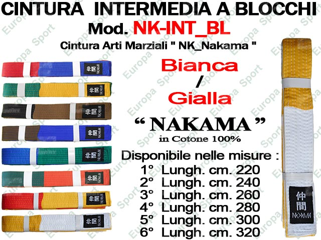 CINTURA BIANCA / GIALLA PER ARTI MARZIALI COTONE 100% MOD. B4-NK INT_BL