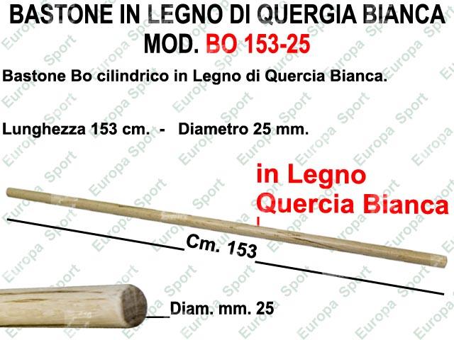 BASTONE IN LEGNO CILINDRICO DI QUERCIA BIANCA MOD. BO 153-25