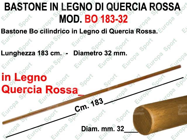 BASTONE IN LEGNO CILINDRICO DI QUERCIA ROSSA MOD. BO 183-32