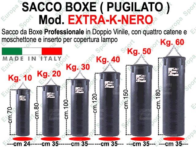SACCO BOXE IN DOPPIO VINILE - CATENA E MOSCHETTONE  MOD. EXTRA-K-NERO