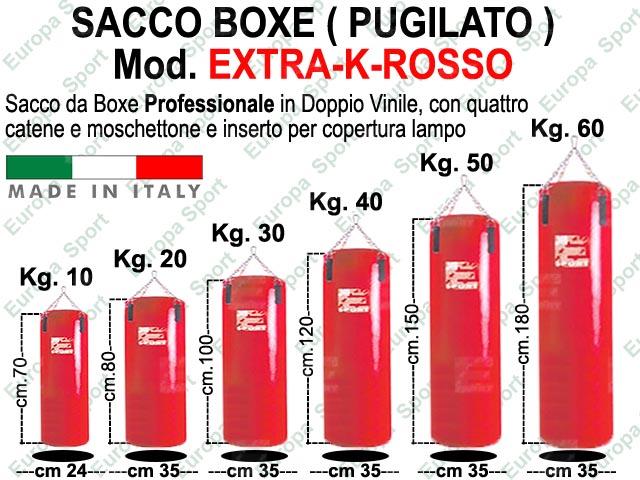 SACCO BOXE IN DOPPIO VINILE - CATENA E MOSCHETTONE  MOD. EXTRA-K-ROSSO