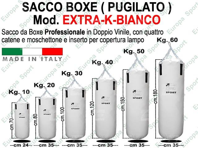 SACCO BOXE IN DOPPIO VINILE - CATENA E MOSCHETTONE  MOD. EXTRA-K-BIANCO