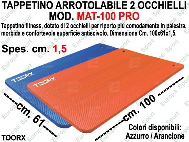 TAPPETINO ARROTOLABILE CON 2 OCCHIELLI DIM. CM. 100X61X1,5 TOORX  MOD. MAT-100 PRO