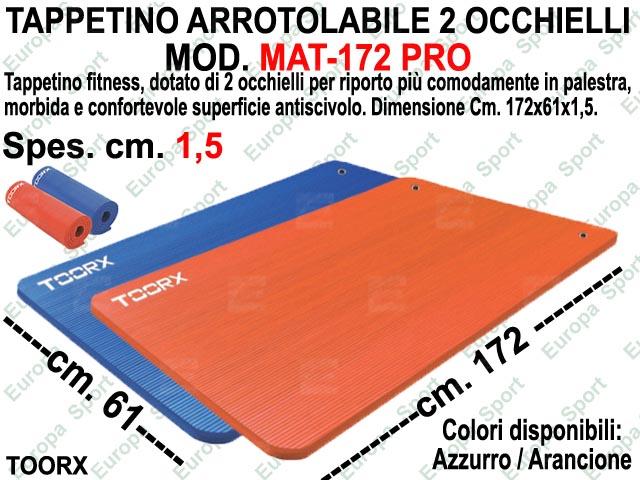 TAPPETINO ARROTOLABILE CON 2 OCCHIELLI DIM. CM. 172X61X1,5 TOORX  MOD. MAT-172 PRO