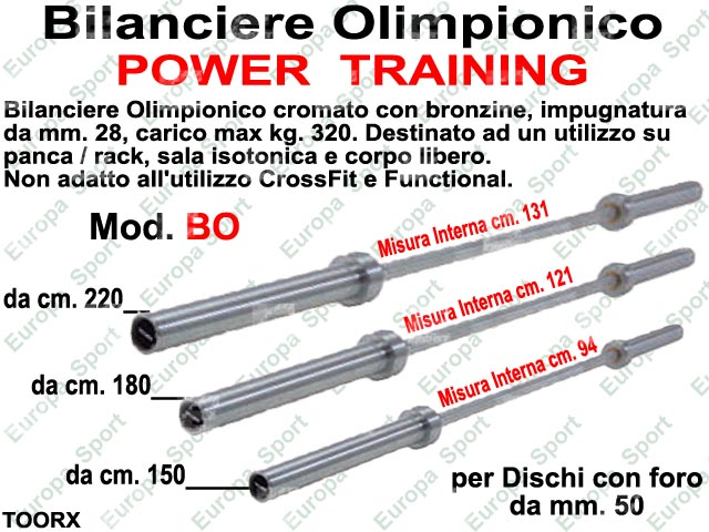 BILANCIERE OLIMPIONICO  POWER TRAINING MOD. TOORX - BO