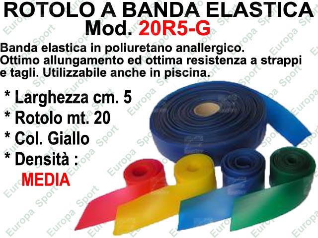 ROTOLO A BANDA ELASTICA DA MT. 20 LARG. CM. 5 DENSITA' MEDIUM COL. GIALLO  MOD. 20R5-G
