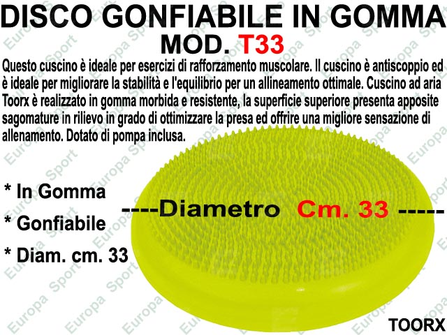 DISCO GONFIABILE IN GOMMA D. CM 33 TOORX  MOD. T33  ( 043 )