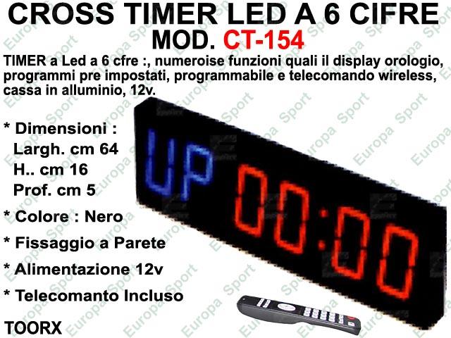 CROSS TIMER LED A 6 CIFRE COMPLETO DI TELECOMANDO TOORX  MOD. T-154