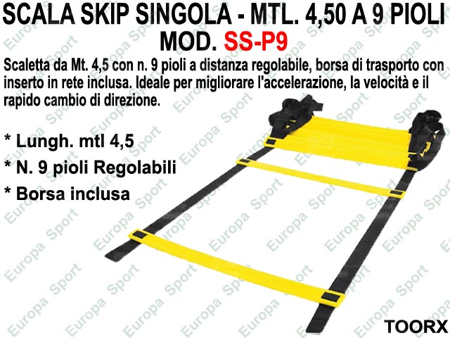 SCALA SKIP SINGOLA DA MTL. 4,50 A 9 PIOLI REGOLABILI CON SACCA TOORX  MOD. P9  ( 134 )
