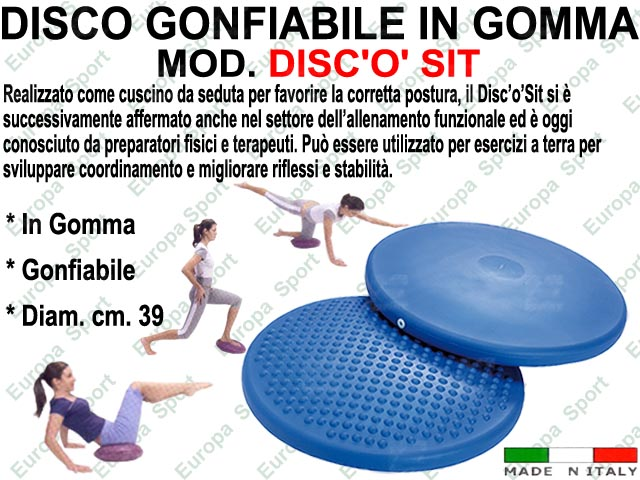 DISCO GONFIABILE IN GOMMA D. CM. 39  MOD. DISC'O' SIT - Made Italy