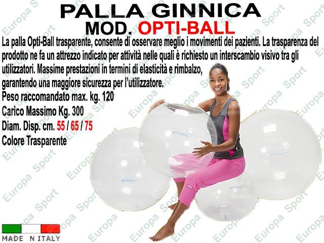 PALLA GINNICA MOD. OPTI-BALL COL. TRASPARENTE PESO KG. 300 - Made Italy