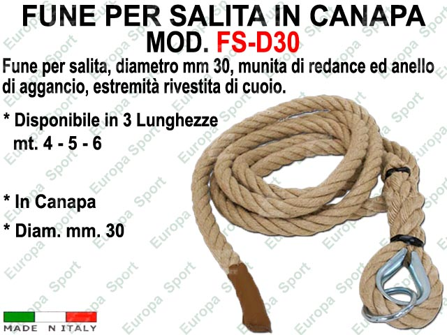 FUNE PER SALITA IN CANAPA  DIAM. MM. 30  MOD. E-C30
