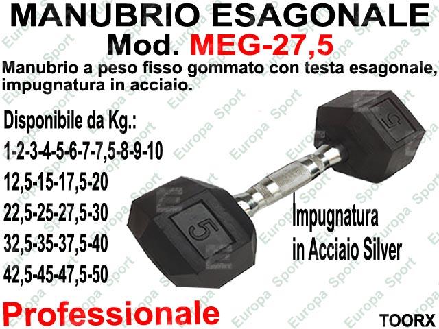 MANUBRIO GOMMATO ESAGONALE KG. 27,5  MOD. MEG-27,5