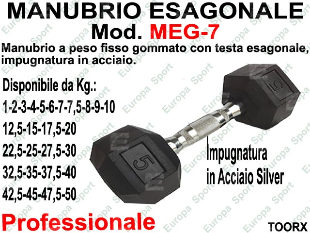MANUBRIO GOMMATO ESAGONALE KG. 7  MOD. MEG-7