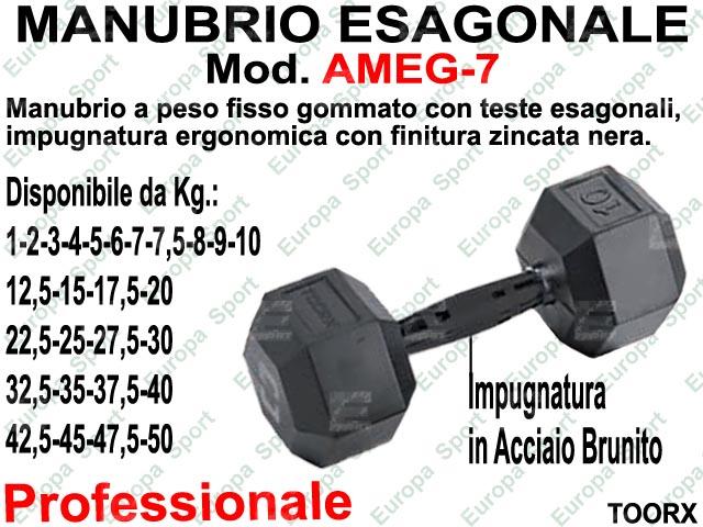 MANUBRIO ESAGONALE GOMMATO KG. 7  MOD. AMEG-7