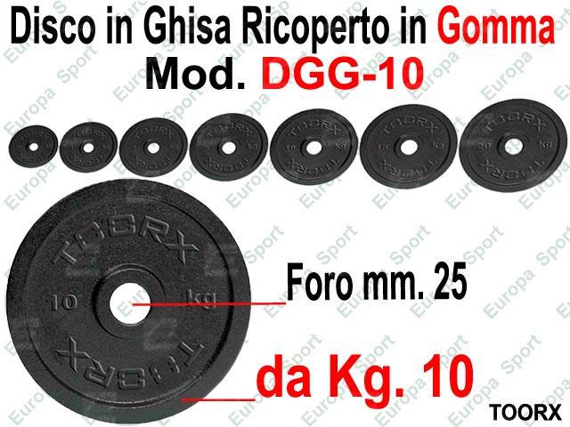 DISCO IN GHISA RICOPERTO IN GOMMA FORO DIM. MM. 25 KG. 10  MOD. DGG-10