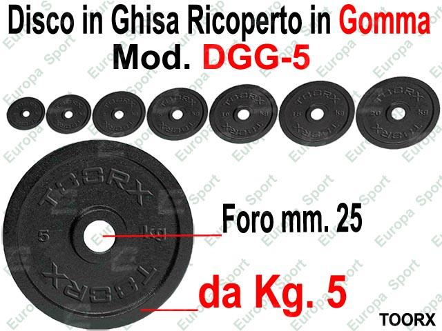 DISCO IN GHISA RICOPERTO IN GOMMA FORO DIM. MM. 25 KG. 5  MOD. DGG-5