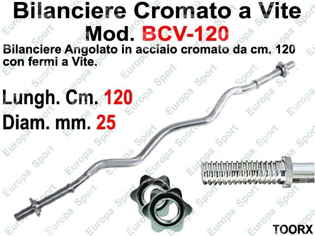 BILANCIERE CURL IN ACCIAIO CON FERMI A VITE CM. 120  DIAM. MM. 25 TOORX  MOD. BCV-120