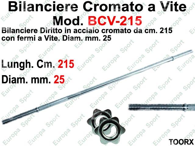 BILANCIERE DIRITTO CM. 215 IN ACCIAIO CON FERMI A VITE DIAM. MM. 25  MOD. BCV-215
