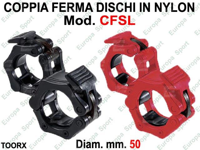 COPPIA FERMA DISCHI IN NYLON CON SICUREZZA  DIAM. MM. 50 TOORX  MOD. CFSL