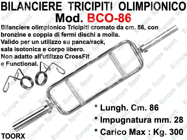 BILANCIERE PER TRICIPITI OLIMPIONICO IN ACCIAIO CM. 86 DIAM. MM. 50 TOORX  MOD. BCO-86