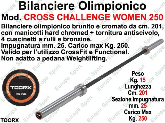 BILANCIERE OLIMPIONICO CM. 201 TOORX  MOD. CROSS CHALLENGE WOMEN 250