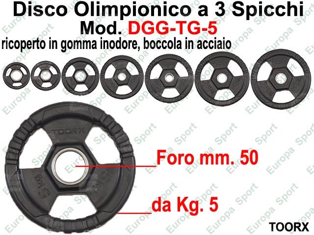 DISCO GOMMATO OLIMPIONICO CON 3 SPICCHI DIAM. FORO MM. 50 KG. 5  MOD. DGG-TG5
