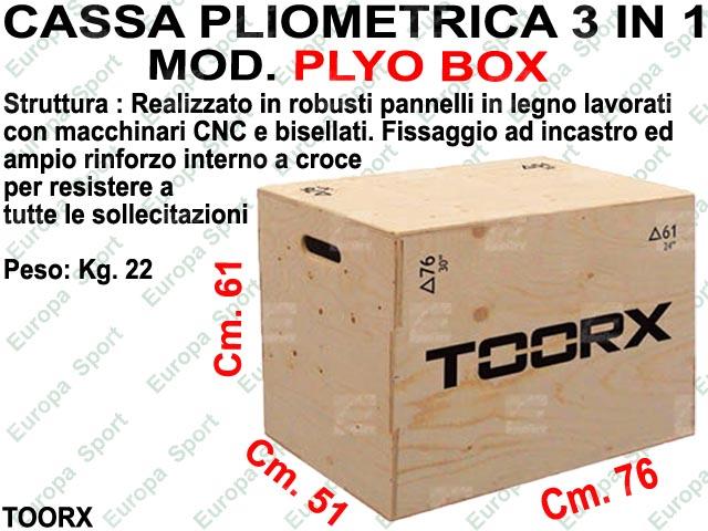 CASSA PLIOMETRICA 3 IN 1 DIM. CM. 51x61x76 TOORX  MOD. PLYO BOX
