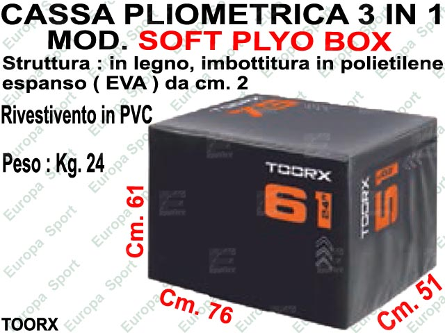 CASSA PLIOMETRICA 3 IN 1 DIM. CM. 51x61x76 MOD. SOFT PLYO BOX - TOORX