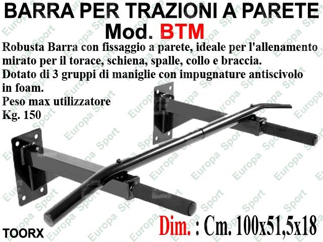 BARRA PER TRAZIONI CON FISSAGGIO A PARETE TOORX  MOD. BTM