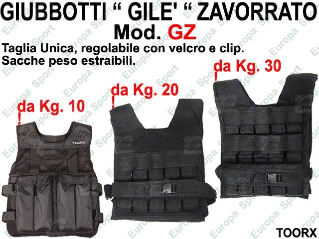 GIUBBOTTI ( GILE' ) ZAVORRATO DA KG. 10 - 20 - 30 TOORX  MOD. GZ