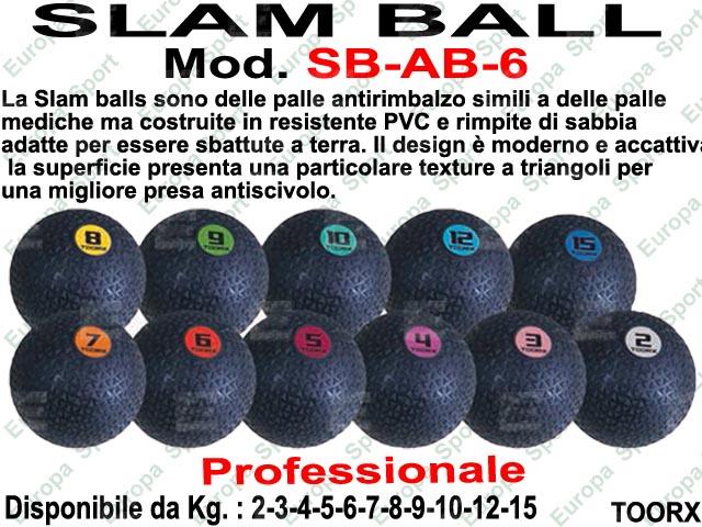 PALLA SLAM BALL ANTIRIMBALZO - ABSOLUTE LINE - DIAM. CM. 23  MOD. SB-AL  KG. 6