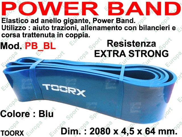 POWER BAND - ELASTICO DI RESISTENZA AD ANELLO COL. BLU D. EXTRA STRONG MOD. TOORX - PB-BL