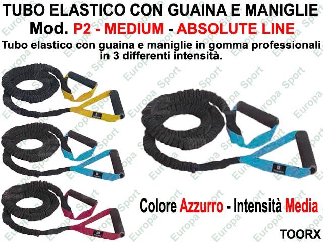 TUBO ELASTICO CON GUAINA E MANIGLIE - ABSOLUTE LINE - AZZURRO  MOD. P2 - MEDIUM  ( 168 )