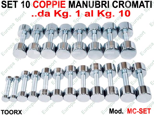 SET DI COPPIA MANUBRI CROMATO DA KG. 1 A KG. 10  MOD. MC-SET