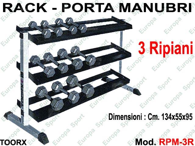 RACK - PORTA MANUBRI A 3 PIANI TOORX  MOD. RPM-3R