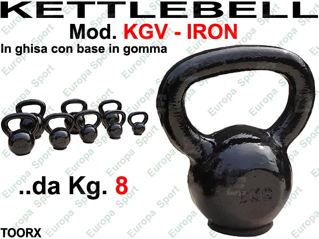 KETTLEBELL IRON IN GHISA CON BASE IN GOMMA KG. 8  MOD. TGV-8