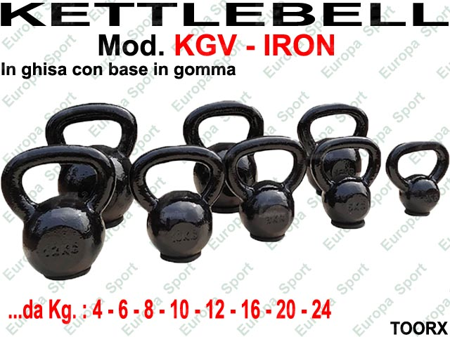 KETTLEBELL IRON IN GHISA CON BASE IN GOMMA TOORX  MOD. KGV