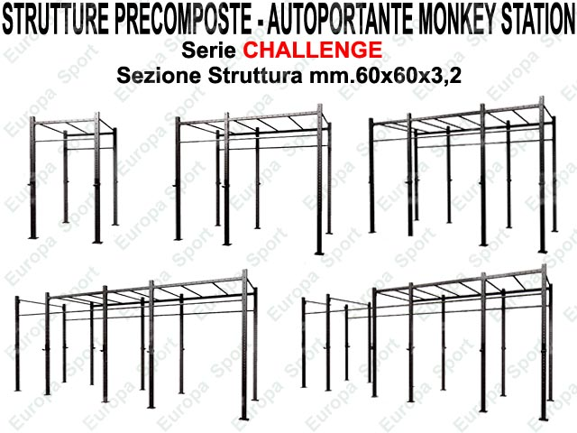 GABBIA PRECOMPOSTA AUTOPORTANTE MOD. CHALLENGE - G60-AMS - MONKEY STATION