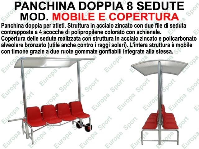 PANCHINA DOPPIA 8 SEDUTE PER ATLETI IN ACCIAIO ZINCATO CON RUOTE E COPERTURA