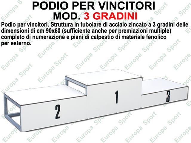 PODIO PER VINCITORI IN ACCIAIO ZINCATO A 3 GRADINI DA CM. 90x60