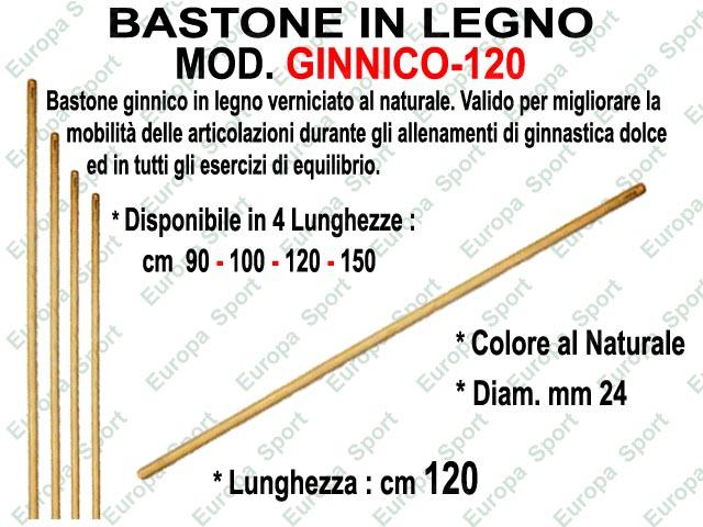 BASTONE GINNICO IN LEGNO LUNGH. CM. 120 DIAM. MM. 24
