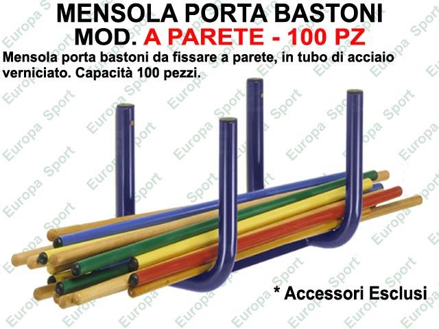 MENSOLA PORTA BASTONI IN ACCIAIO VERNICIATO A PARETE  CAPACITA' 100  PZ.