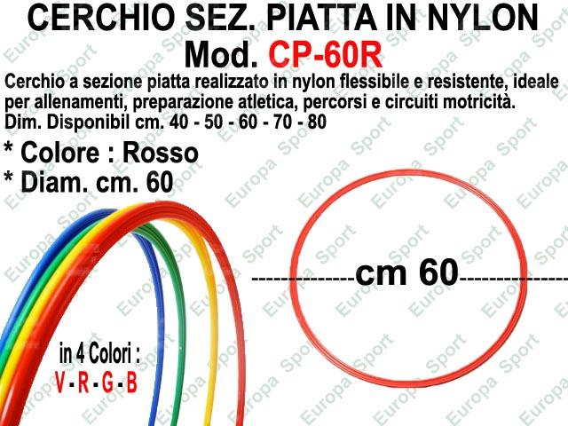 CERCHIO IN NYLON SEZ. PIATTA DIAM. CM. 60 COL. ROSSO MOD. CP-60